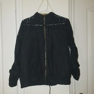 Black Lace Bomber Jacket (Plus Size)